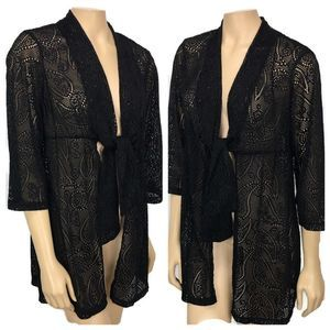 Catalina Black Lace Tie Front Cover up